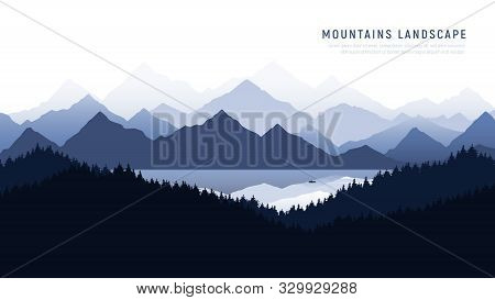 Mountains Landscape. Reflection Of The Mountains In Calm Surface Of A Mountain Lake . Silhouette Man