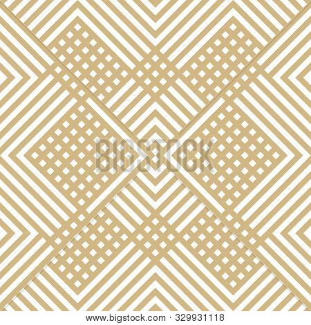 Vector Golden Geometric Lines Seamless Pattern. Subtle Modern Texture With Squares, Stripes, Chevron