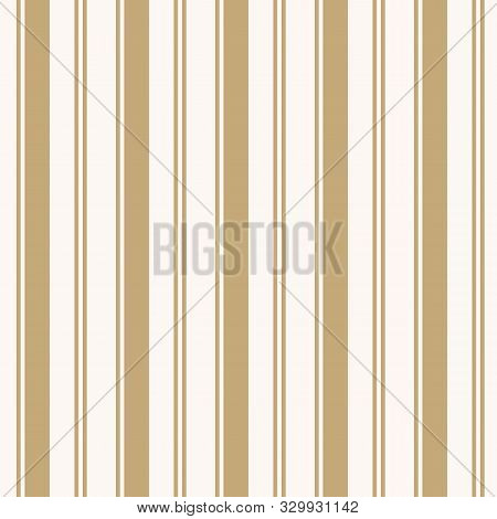 Golden Vertical Stripes Pattern. Simple Vector Seamless Texture With Thin And Thick Lines. Modern Ab
