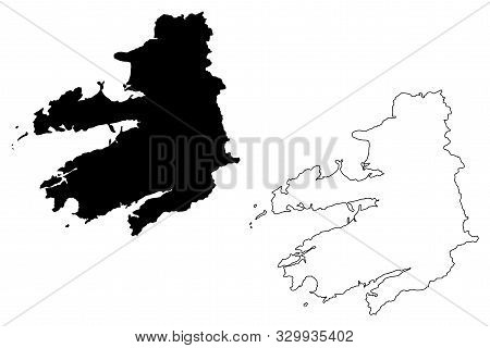 Kerry County Council (republic Of Ireland, Counties Of Ireland) Map Vector Illustration, Scribble Sk