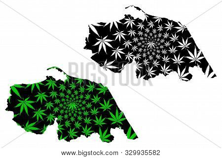 Pattani Province (kingdom Of Thailand, Siam, Provinces Of Thailand) Map Is Designed Cannabis Leaf Gr