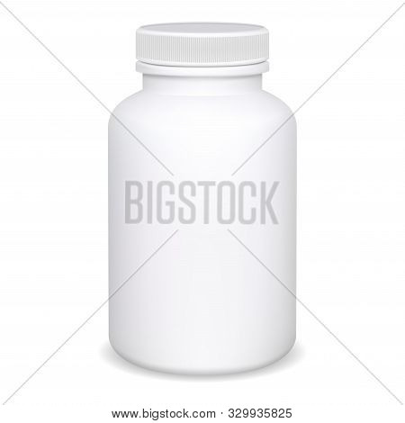 Supplement Bottle. Pill Container Mockup. White Medical Jar Blank Isolated Template. Vitamin Or Aspi