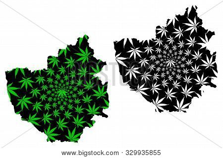 Phayao Province (kingdom Of Thailand, Siam, Provinces Of Thailand) Map Is Designed Cannabis Leaf Gre