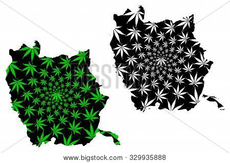 Phichit Province (kingdom Of Thailand, Siam, Provinces Of Thailand) Map Is Designed Cannabis Leaf Gr