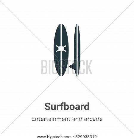 Surfboard icon isolated on white background from entertainment and arcade collection. Surfboard icon