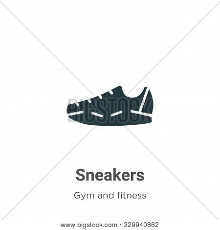 Sneakers icon isolated on white background from gym and fitness collection. Sneakers icon trendy and