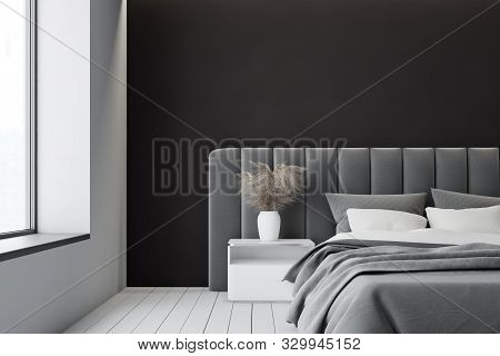 White And Black Master Bedroom Interior