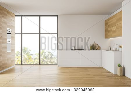 White And Wooden Kitchen With Countertops