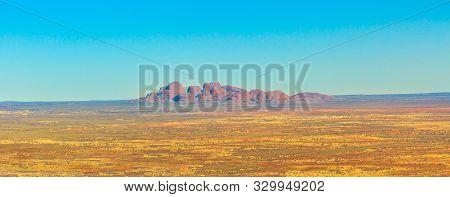 Uluru, Northern Territory, Australia - Aug 23, 2019: Banner Of Mount Olga Rock Formation In Uluru-ka