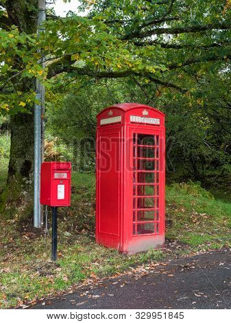 Traditional Red Telephone And Post Box In Uk