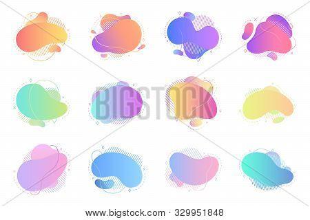 Liquid Shape Abstract Design Set. Fluid Graphic Background. Creative Text Banner. Splash Wave Poster