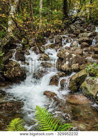Waterfall In The Valley Of Glen Nevis, Scotland