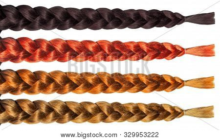 Female Hair Wig Pigtail Plait Set. Isolated On White Background. Blonde Brunette Brown Hair