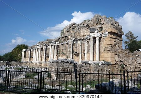 Side / Turkey - October 16 2019: Sights Of Turkey And Memorable Places. The Ruins Of The Ancient Cit