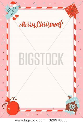 Merry Christmas Frame With Gingerbread House And Xmas Gifts On Pink Background With Free Space For T