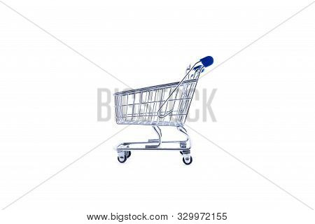 Empty Shopping Cart Over White Background, Mini Metal Cart Isolated On Color Background