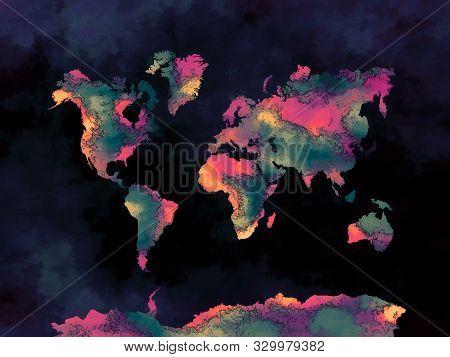 Watercolor World Map Art Dark And Pastels Colors