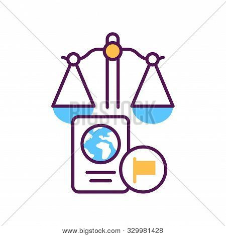 Customs Court Line Color Icon. Judiciary Concept. Immigration Law Element. Sign For Web Page, Mobile