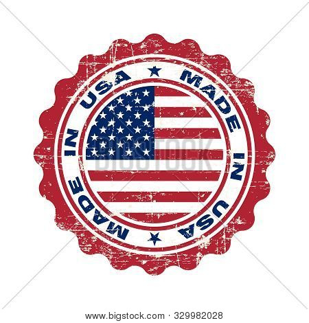 Stamp With Text Made In Usa. Logo American Quality. Seal  Flag Usa In Circle. Icon Premium Quality.