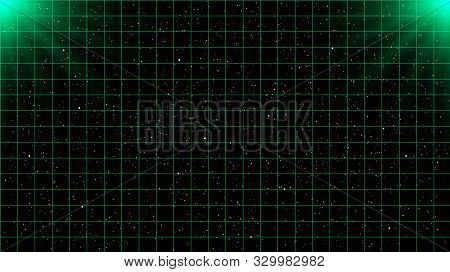 Retrowave Green Laser Grid On Starry Space Background With Two Light Sources On Top.