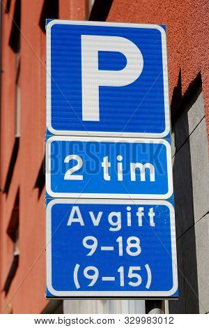Swedish Car Parking Road Sign With Parking Rules.