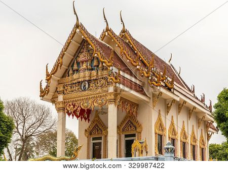 Ko Samui Island, Thailand - March 18, 2019: Wat Khunatam Buddhist Temple And Monastery. Front, Side