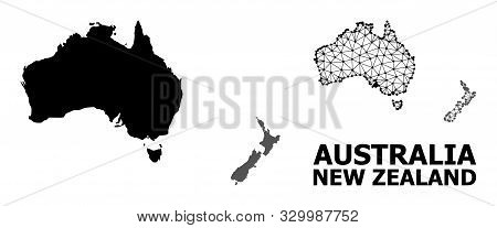 Solid And Mesh Vector Map Of Australia And New Zealand. Wire Carcass Flat Triangular Mesh In Eps Vec