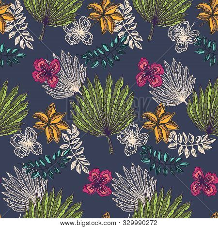 Contrast Seamless Pattern With Colorful Tropical Leaves And Flowers On Dark Blue Background. Trendy