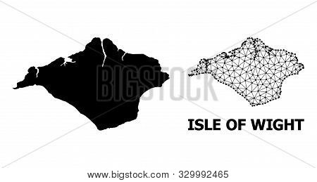 Solid And Mesh Vector Map Of Isle Of Wight. Linear Carcass Flat Triangular Mesh In Eps Vector Format