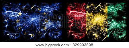 Eu, European Union Vs Guinea, Guinean New Year Celebration Sparkling Fireworks Flags Concept Backgro