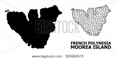 Solid And Mesh Vector Map Of Moorea Island. Wire Frame Flat Polygonal Mesh In Vector Eps Format, Geo