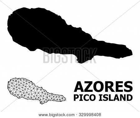 Solid And Mesh Vector Map Of Pico Island. Linear Frame Flat Triangular Mesh In Vector Format, Geogra