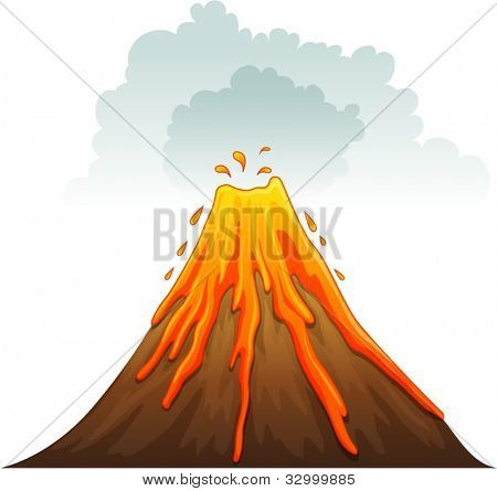 Illustration of a volcano erupting