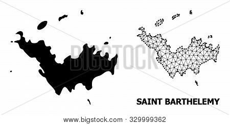 Solid And Mesh Vector Map Of Saint Barthelemy. Wire Frame Flat Polygonal Mesh In Eps Vector Format,