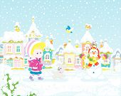 Little girl strolling with a cheerful pup through a snow-covered park of a small colorful town on a snowy winter day, vector illustration in a cartoon style poster