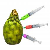 Cactus pear with a syringes full of chemicals. Genetic Food Modification, concept. 3D rendering isolated on white background poster