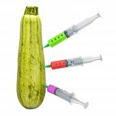 Courgette or zucchini with a syringes full of chemicals. Genetic Food Modification, concept. 3D rendering isolated on white background poster