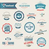 Seafood labels and elements for restaurant, market, web and printed materials poster