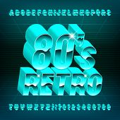 80s Retro alphabet font. 3D letters and numbers in 80s style. Stock vector typescript for your typography design. poster