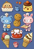 cartoon illustration of cute cakes and ice cream poster
