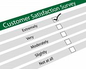 Illustration of customer satisfaction survey on white background poster