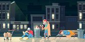 Homeless people in ghetto. Beggars and bums in ragged clothing sleeping on street, warming near barrel with fire, drinking alcohol, collecting garbage. Poor need help. cartoon flat vector illustration poster
