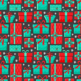 Seamless Pattern Different Gift Boxes In Vector. Gift In Flat Style. Collection For Christmas, Birth