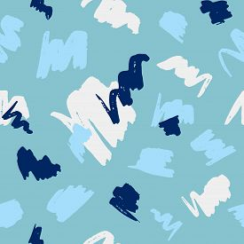 Seamless Geometric Pattern With Abstract Brush Strokes On Blue Background.