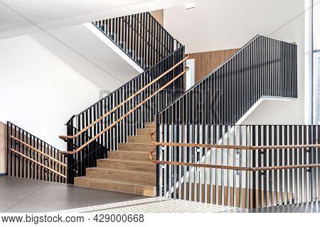 Stairs In The Hallway Of Modern University. Modern School Corridor Interior.