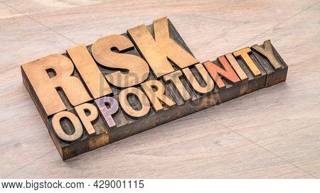 risk and opportunity word abstract in vintage letterpress wood type, business, lifestyle and personal development concept