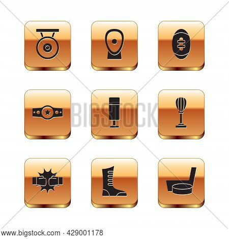 Set Gong, Punch In Boxing Gloves, Sport Shoes, Punching Bag, Boxing Belt, American Football Ball, Ic