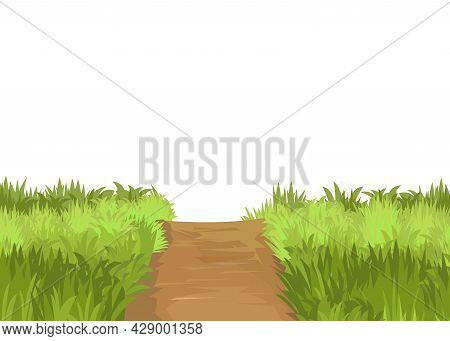 Road. Meadow. Illustration. Lawn. Grass Close-up. Green Landscape. Isolated. Cartoon Style. Flat Des