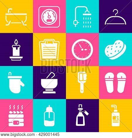 Set Cream Or Lotion Cosmetic Tube, Flip Flops, Bath Sponge, Shower, Bathroom Scales, Aroma Candle, B