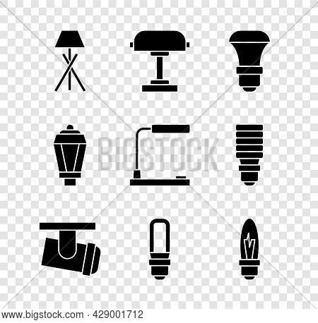 Set Floor Lamp, Table, Led Light Bulb, Led Track Lights And Lamps, Light, Garden And Icon. Vector